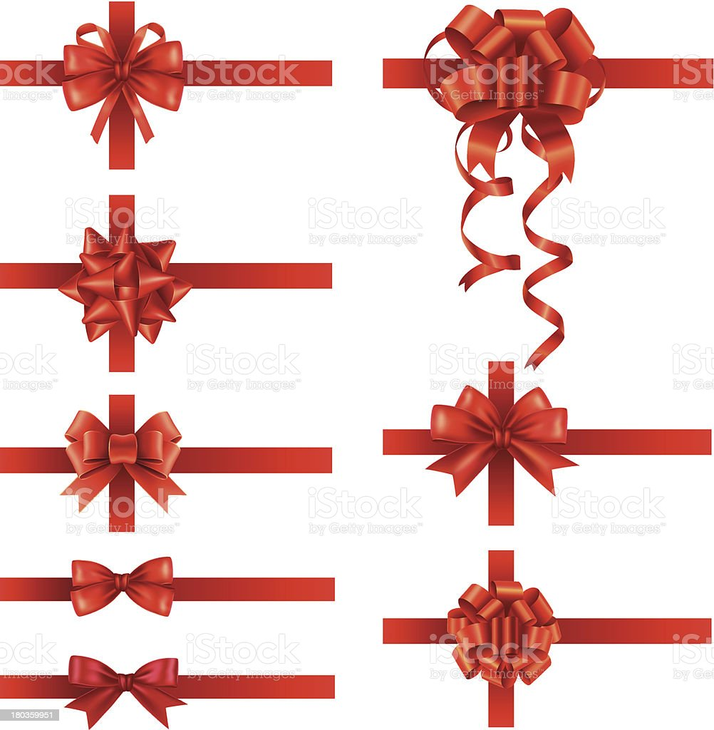 Red bow set vector art illustration