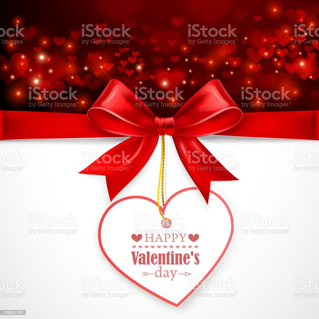 Red bow with heart vector art illustration