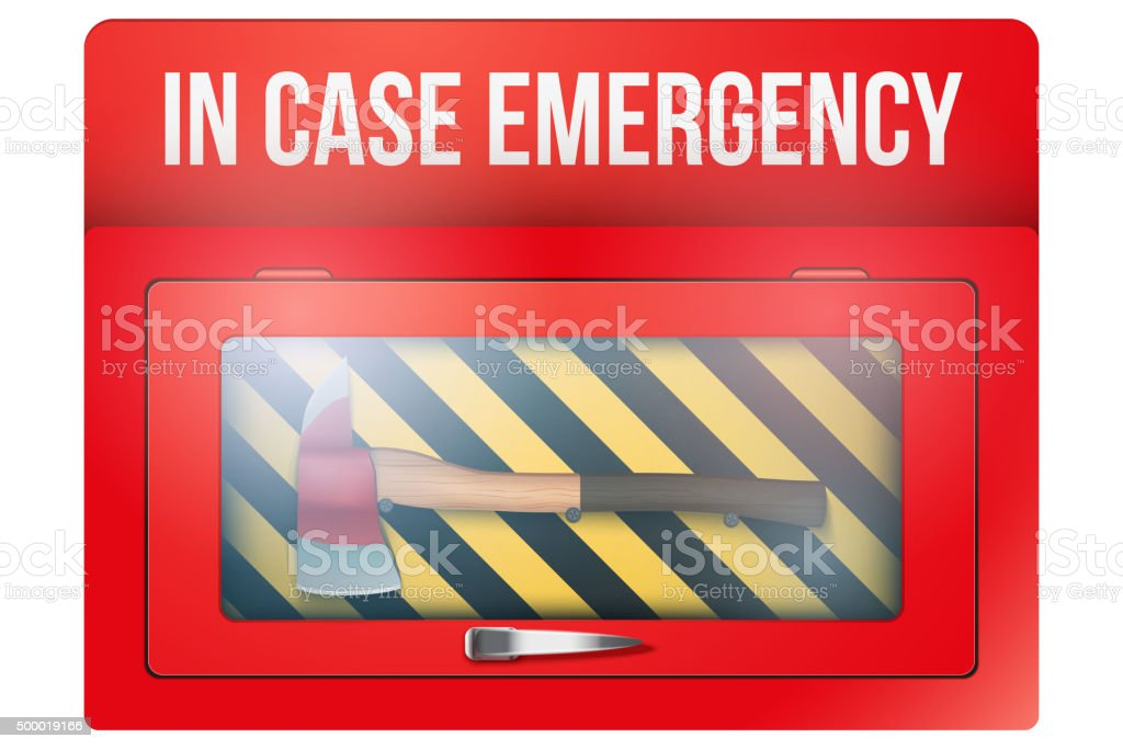 Red box with axe in case of emergency vector art illustration