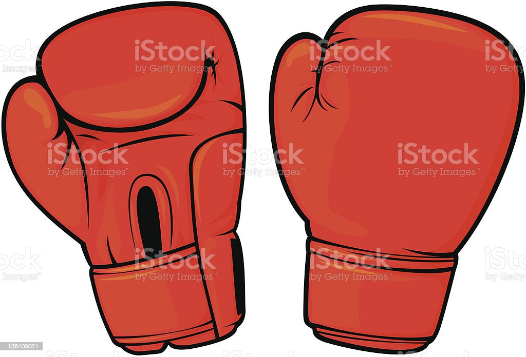 red boxing gloves vector art illustration