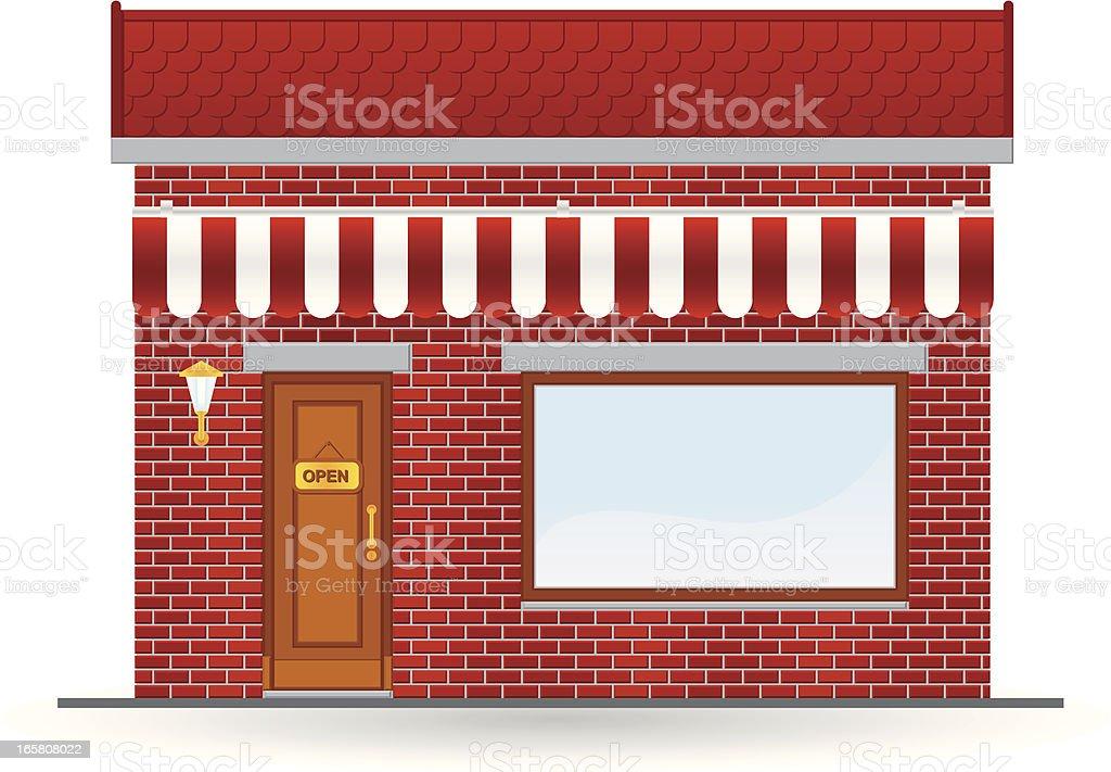 red brick store icon vector art illustration