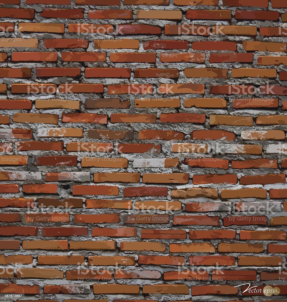 Red brick wall background. Vector illustration. vector art illustration