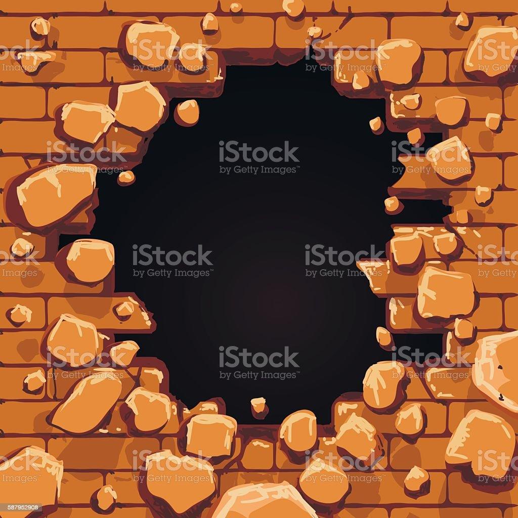 Red brick wall hole vector art illustration