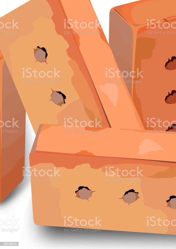 Red bricks vector art illustration