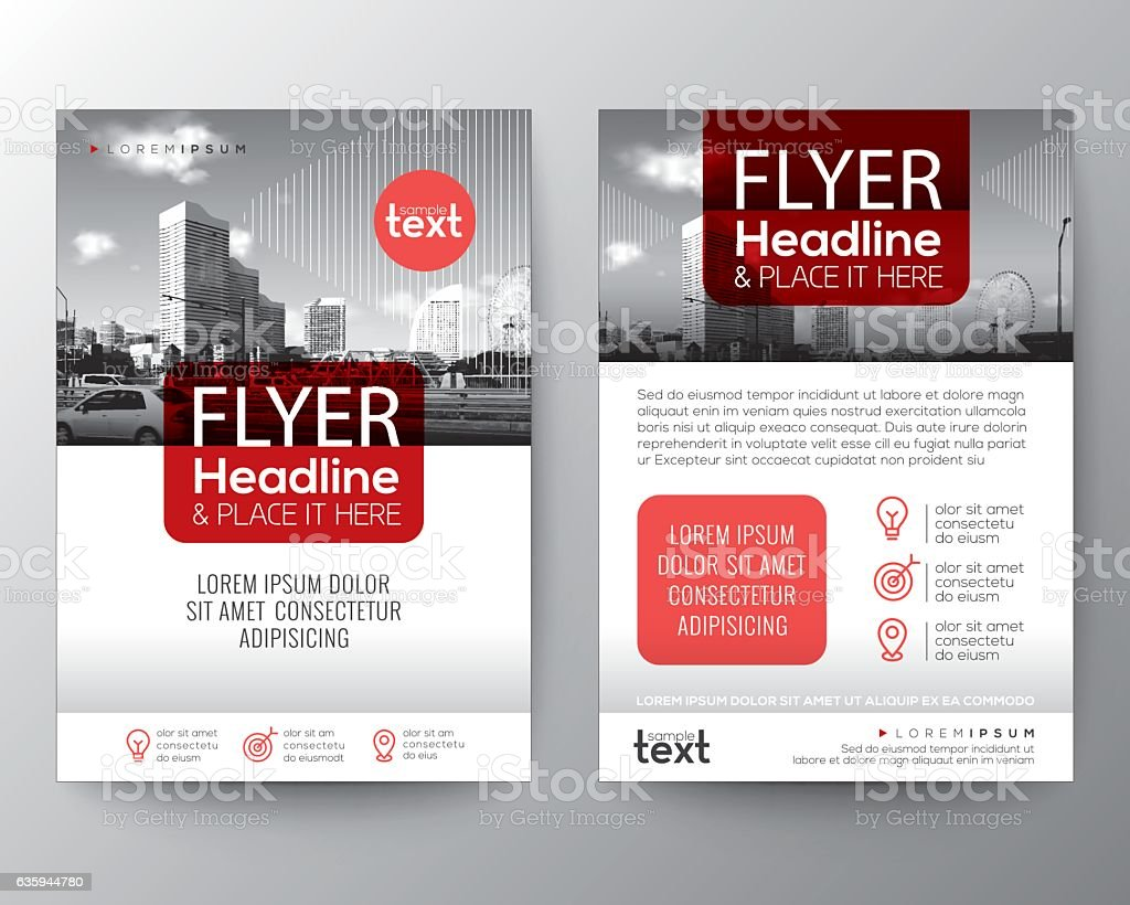 Red Brochure cover Flyer Poster design Layout template vector art illustration