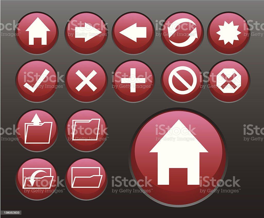 red browsing icons royalty-free stock vector art