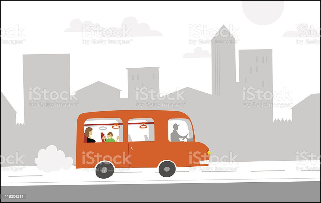 red bus vector art illustration