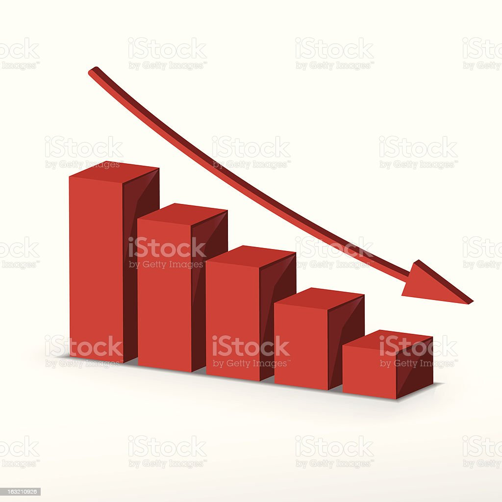 3D red business decline graph vector art illustration