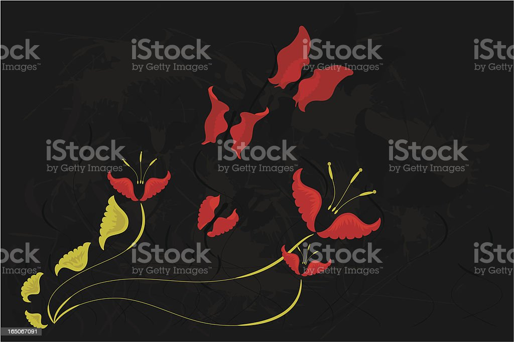 red butterflies with flowers royalty-free stock vector art