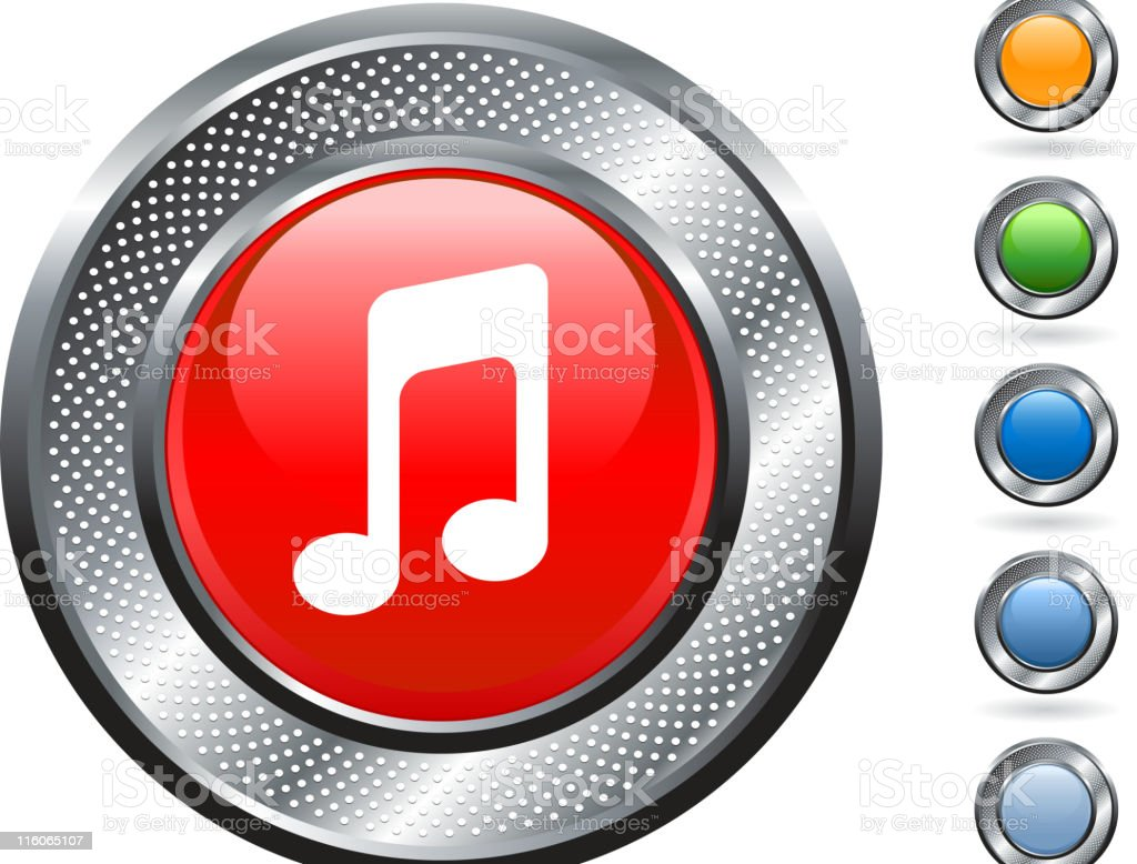 Red button with white music icon royalty-free stock vector art