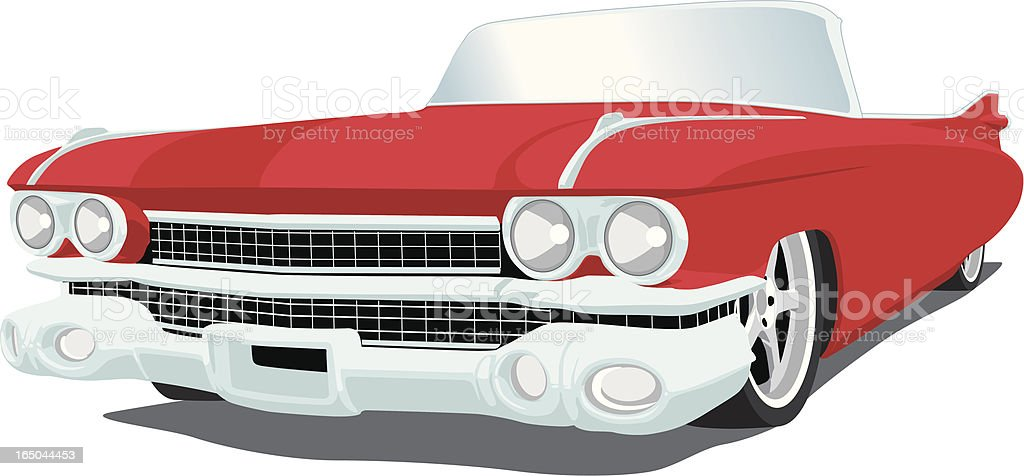 Red Caddy - 1959 vector art illustration