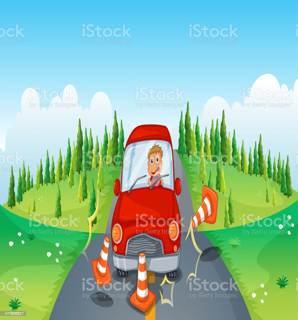 red car at  road bumping the traffic cones royalty-free stock vector art