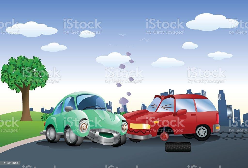 red car destroyed in a crash hitting green car vector art illustration