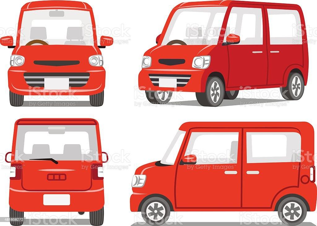 Red car four angle set vector art illustration