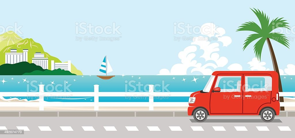 Red Car in summer nature vector art illustration
