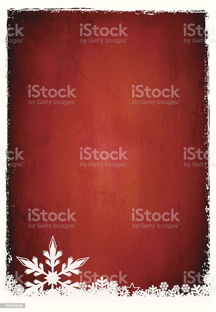 A red card template with a white border and snowflake design royalty-free stock vector art