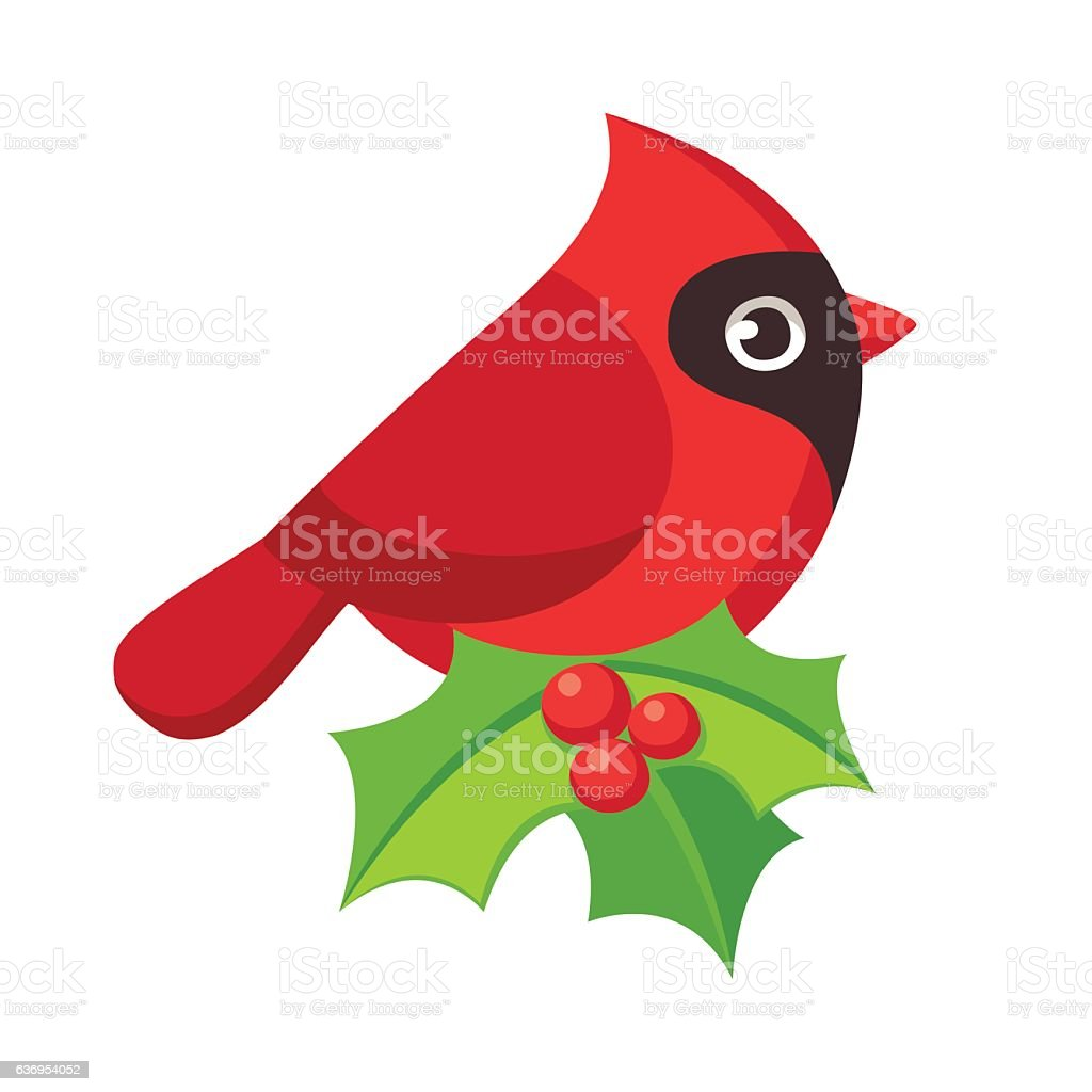 Red cardinal bird vector art illustration