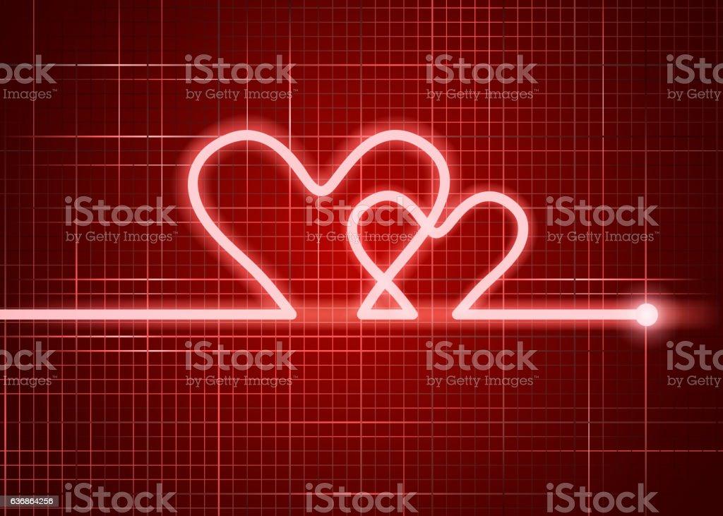 red cardiogram vector art illustration