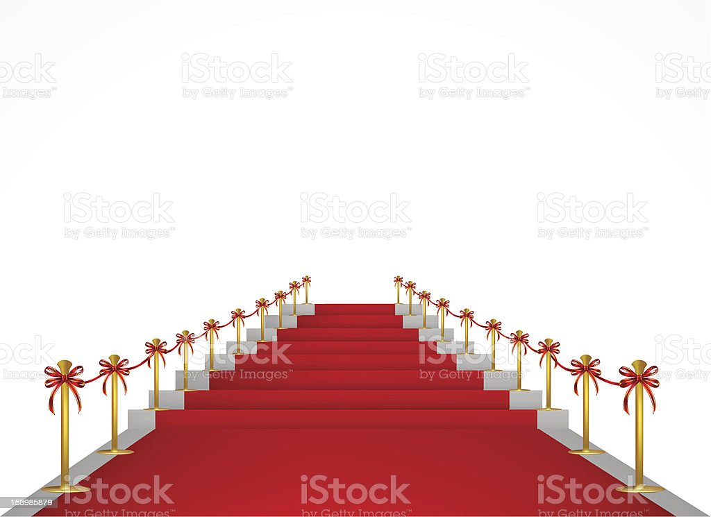 Red carpet and stairs for VIP persons. Vector royalty-free stock vector art