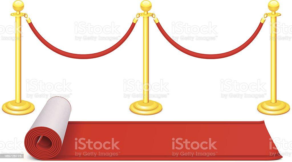 Red Carpet and Velvet Rope vector art illustration