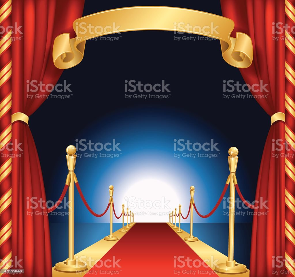 Red Carpet Background with Curtains and Banner vector art illustration
