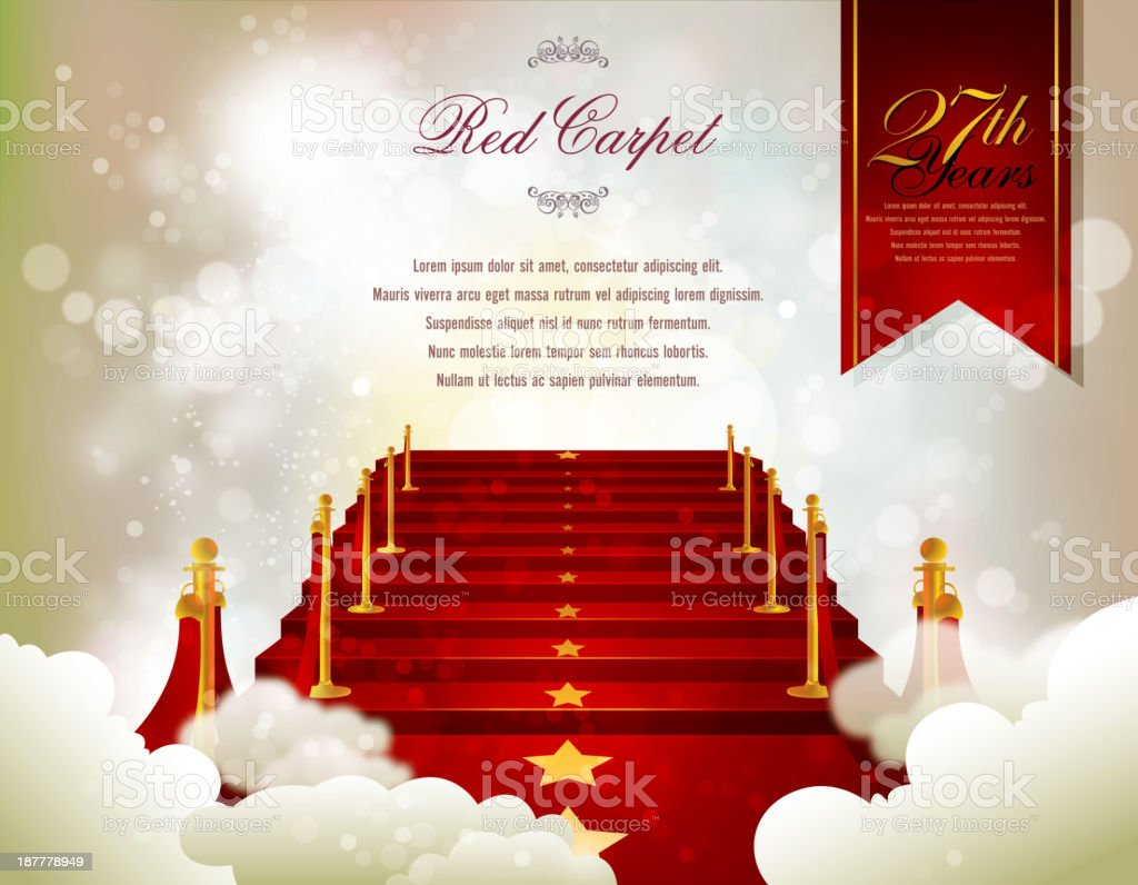 Red Carpet Card with Defocused Background vector art illustration
