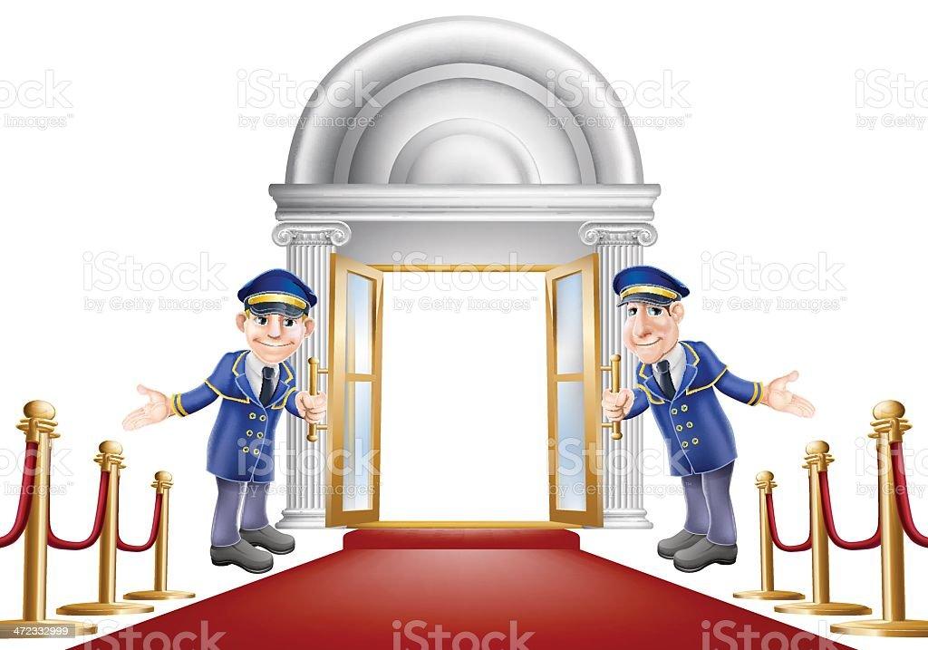 Red carpet entrance royalty-free stock vector art