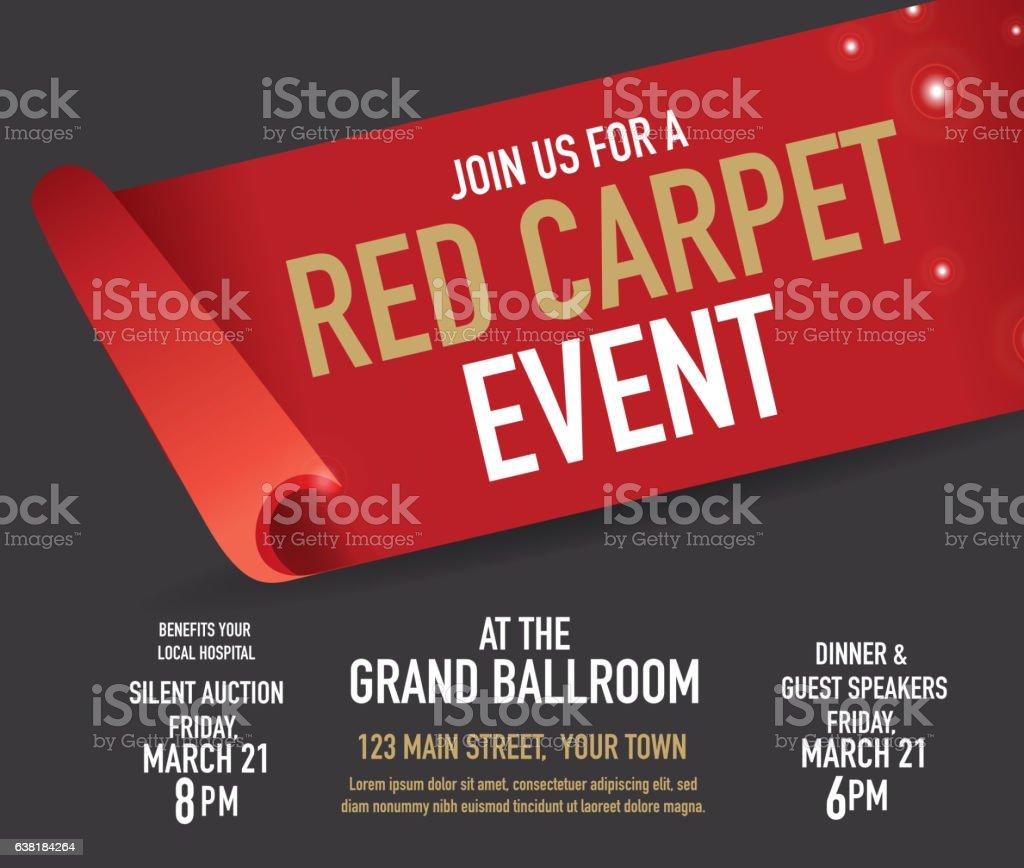 Red Carpet Event design template vector art illustration