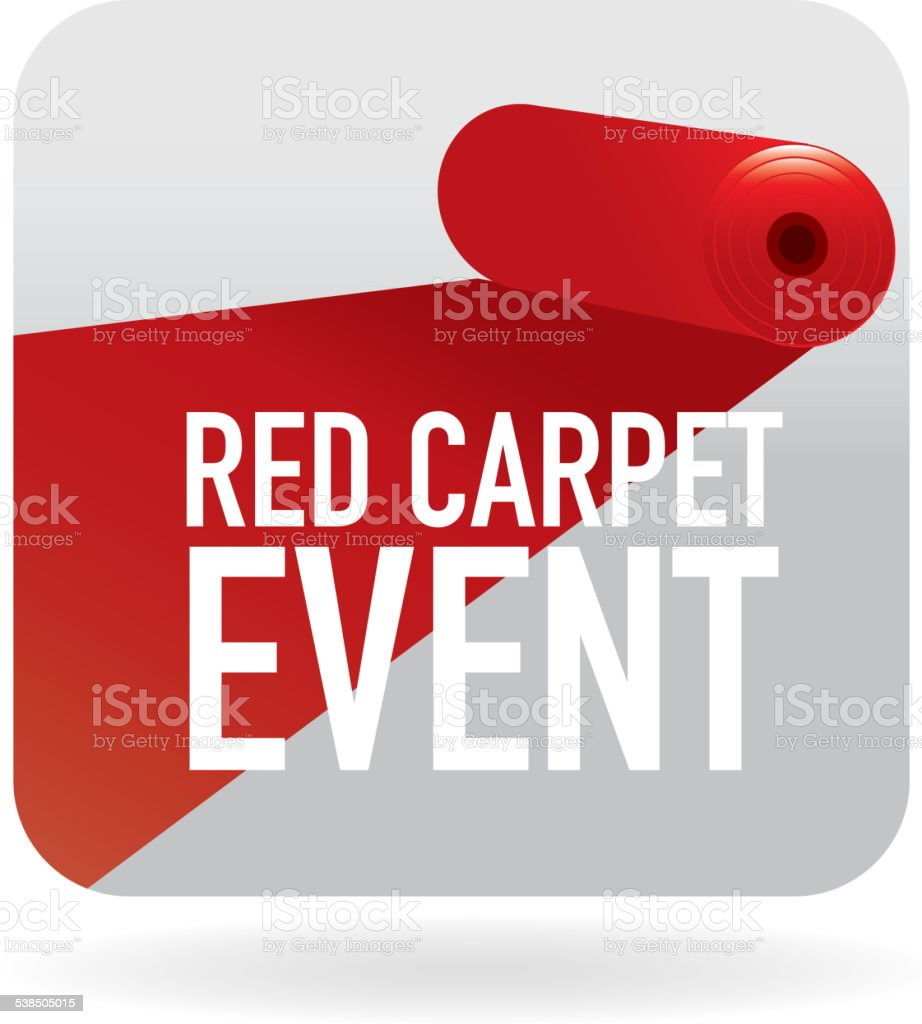 Red Carpet  Event  icon with white text vector art illustration
