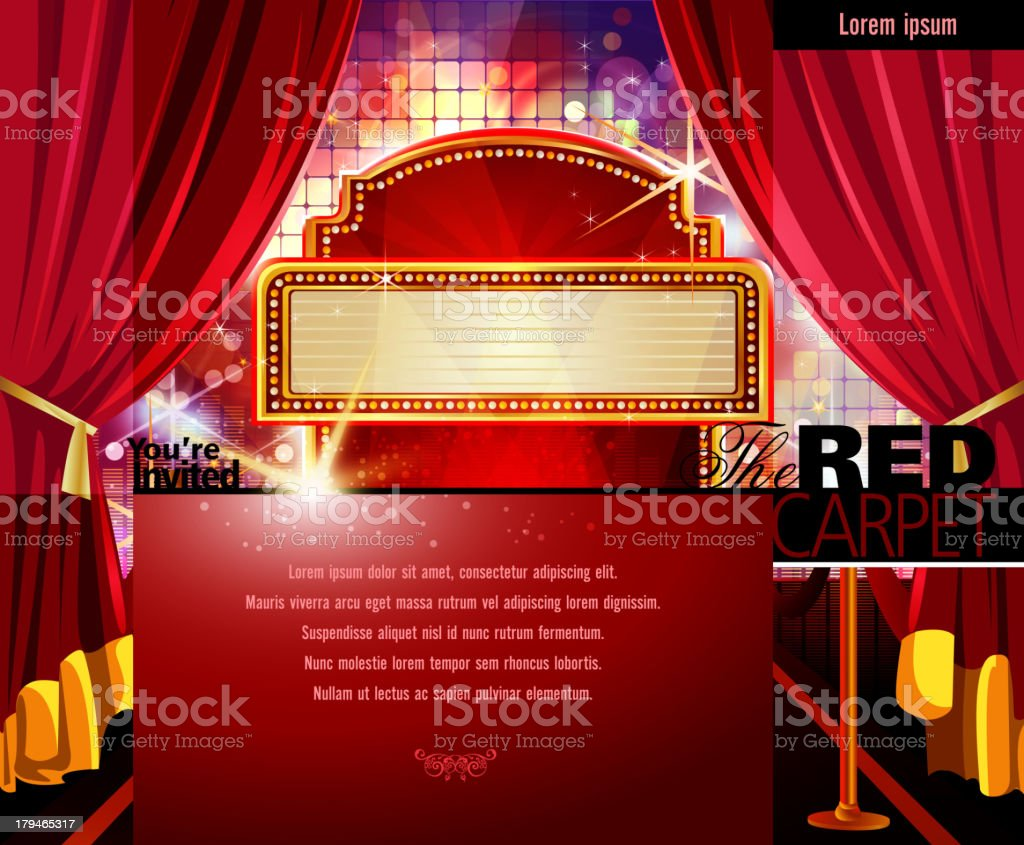 Red Carpet Invitation with Marquee Display and Screen royalty-free stock vector art