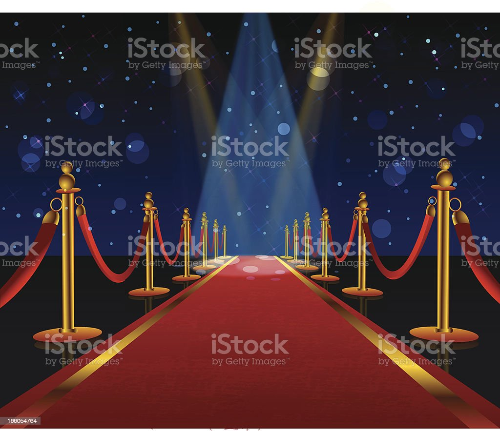 A red carpet is stretching into the distance  vector art illustration