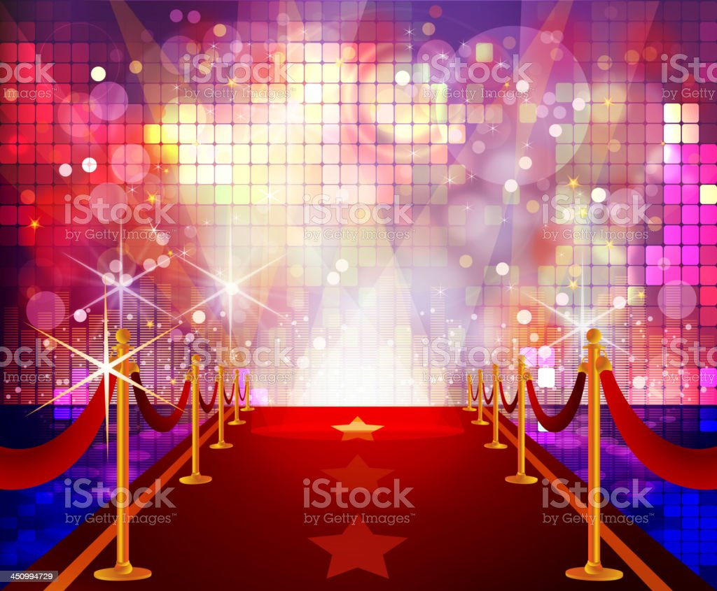 Red carpet lighted by a flashy disco background vector art illustration