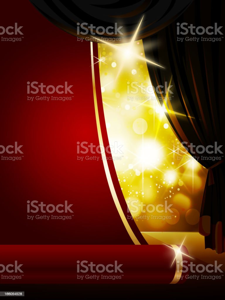Red Carpet on Bright Flashy Background royalty-free stock vector art