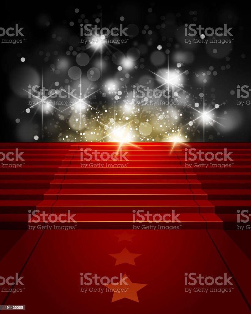 Red Carpet on Steps with Paparazzi Flashes vector art illustration