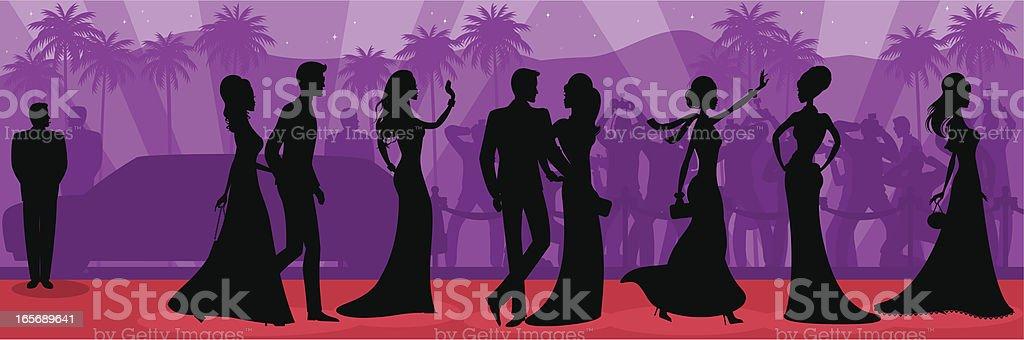 Red Carpet Silhouette vector art illustration