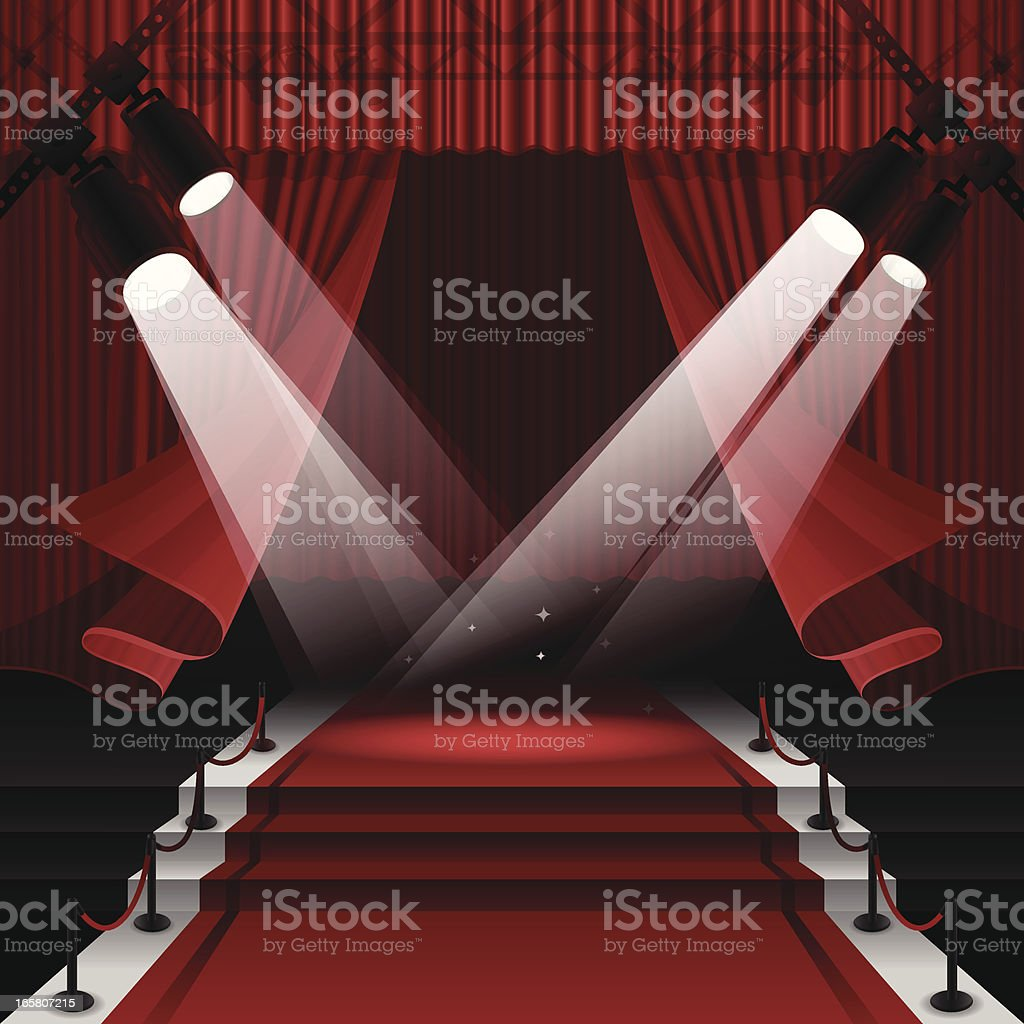 Red Carpet Stage vector art illustration