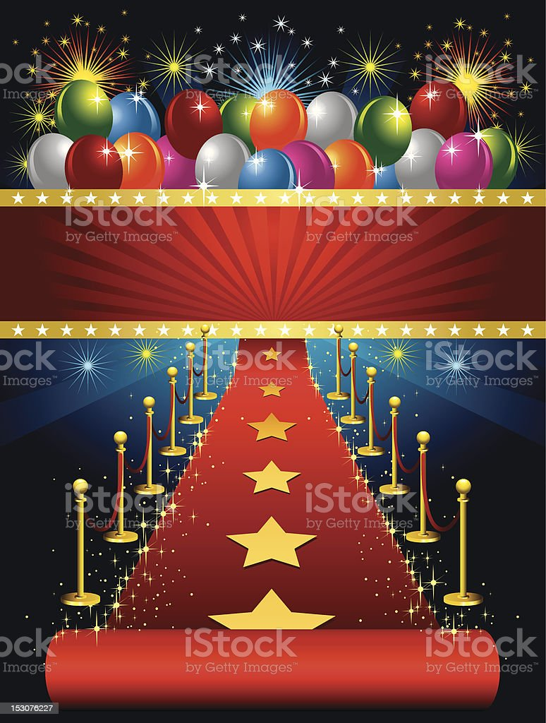 Red Carpet Star and Balloon royalty-free stock vector art