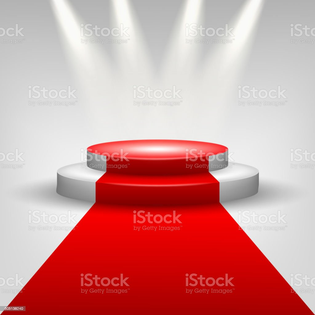 Red carpet to podium stage with spotlights vector art illustration