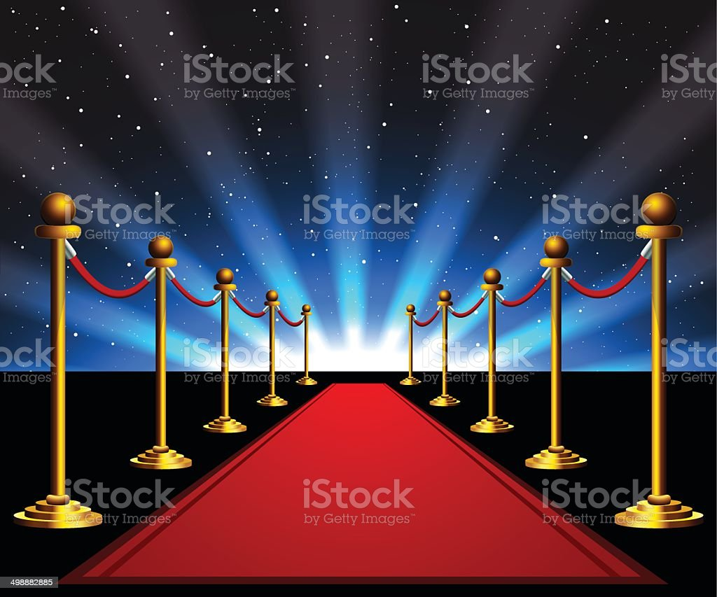 Red carpet to the stars vector art illustration