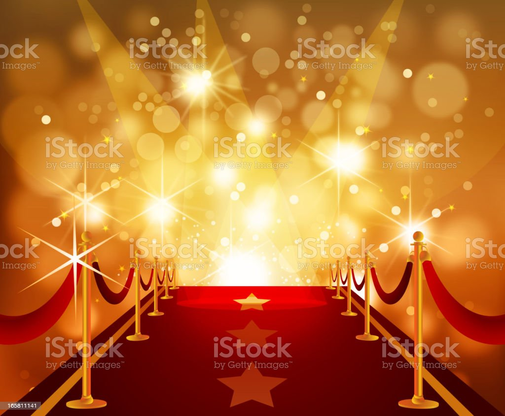 Red Carpet with Bright Flashy Background vector art illustration