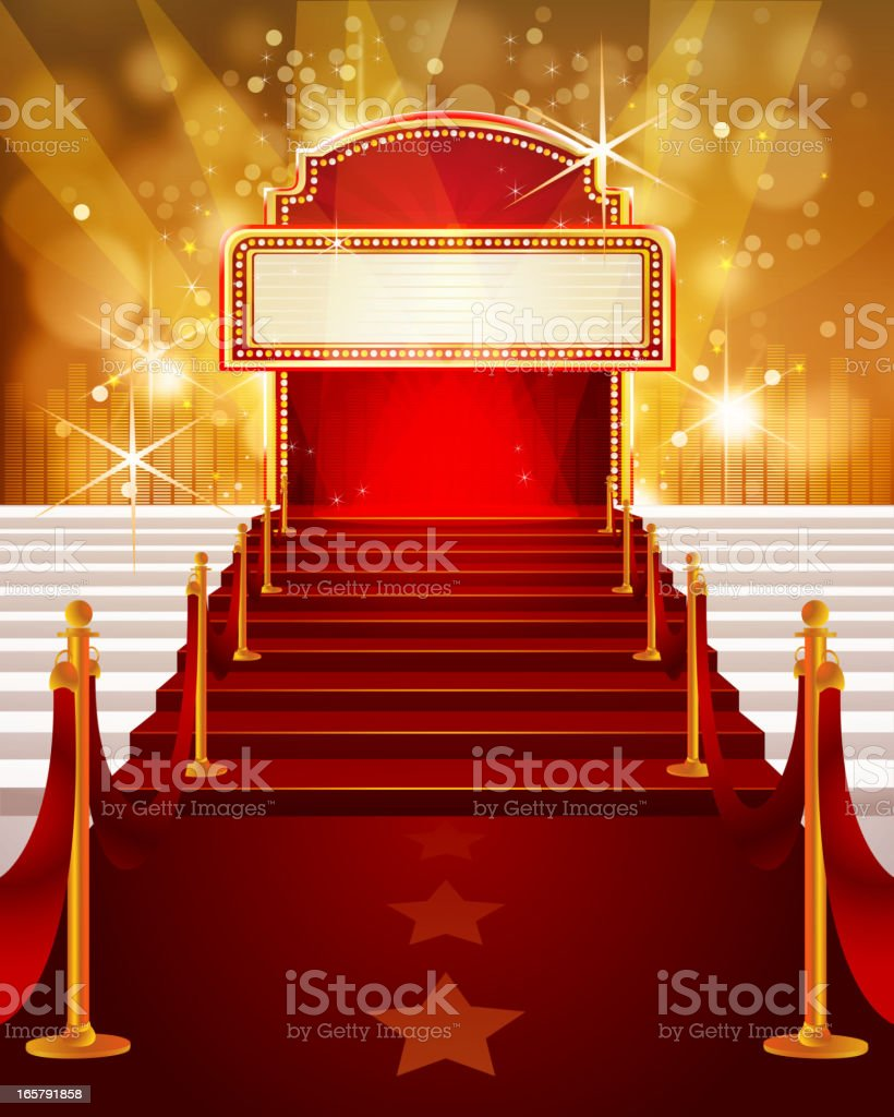 Red Carpet with Marquee and Steps royalty-free stock vector art