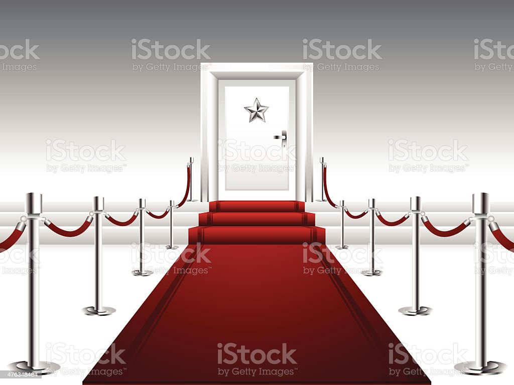 Red Carpet with Stairs and Door with Silver Star vector art illustration