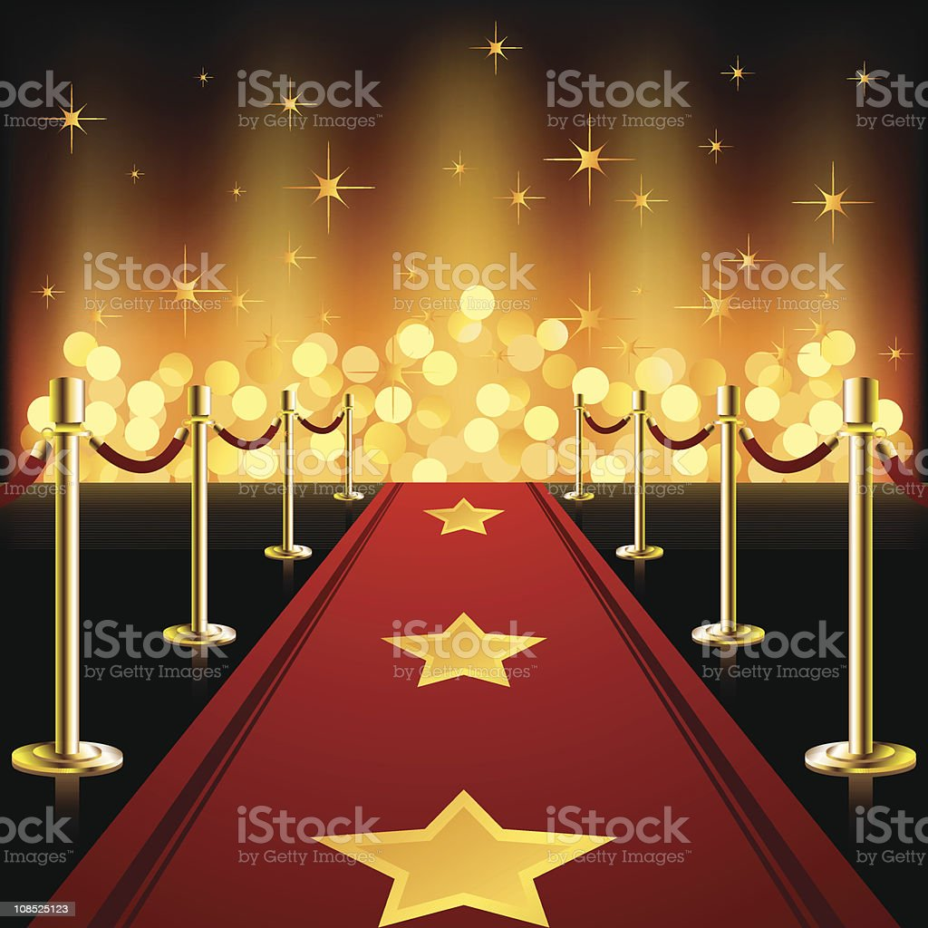 Red Carpet with stars vector art illustration