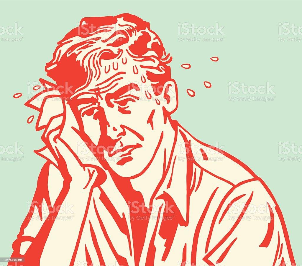 Red carton outline of sweaty sad man on blue background vector art illustration