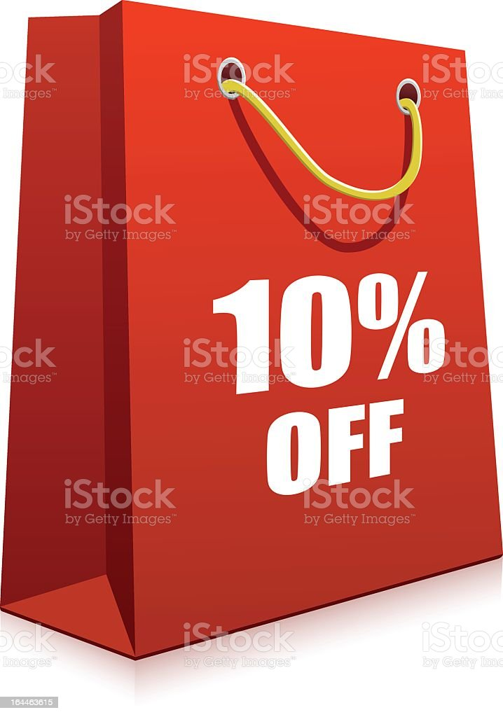 A red cartoon depiction of a shopping bag with words royalty-free stock vector art