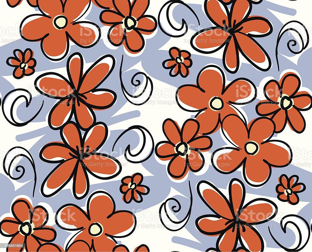 Red cartoon flowers - seamless pattern royalty-free stock vector art