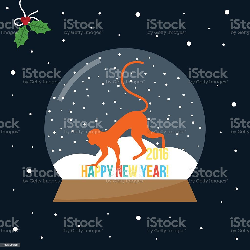 Red cartoon monkey in glass bowl with snow vector art illustration