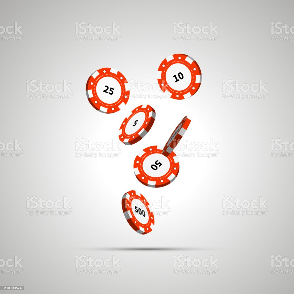 Red casino chips in air on white vector art illustration
