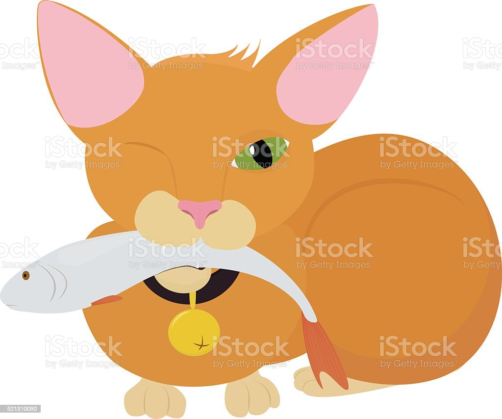 red cat with big green eyes and fish vector art illustration
