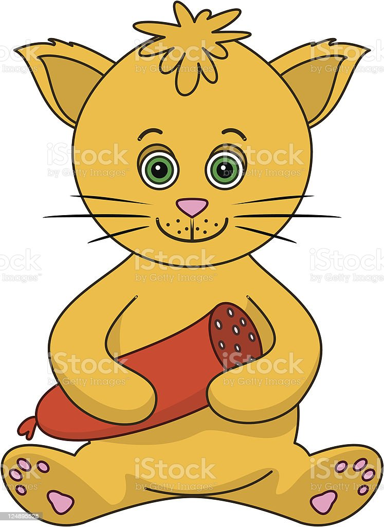 Red cat with the sausage royalty-free stock vector art